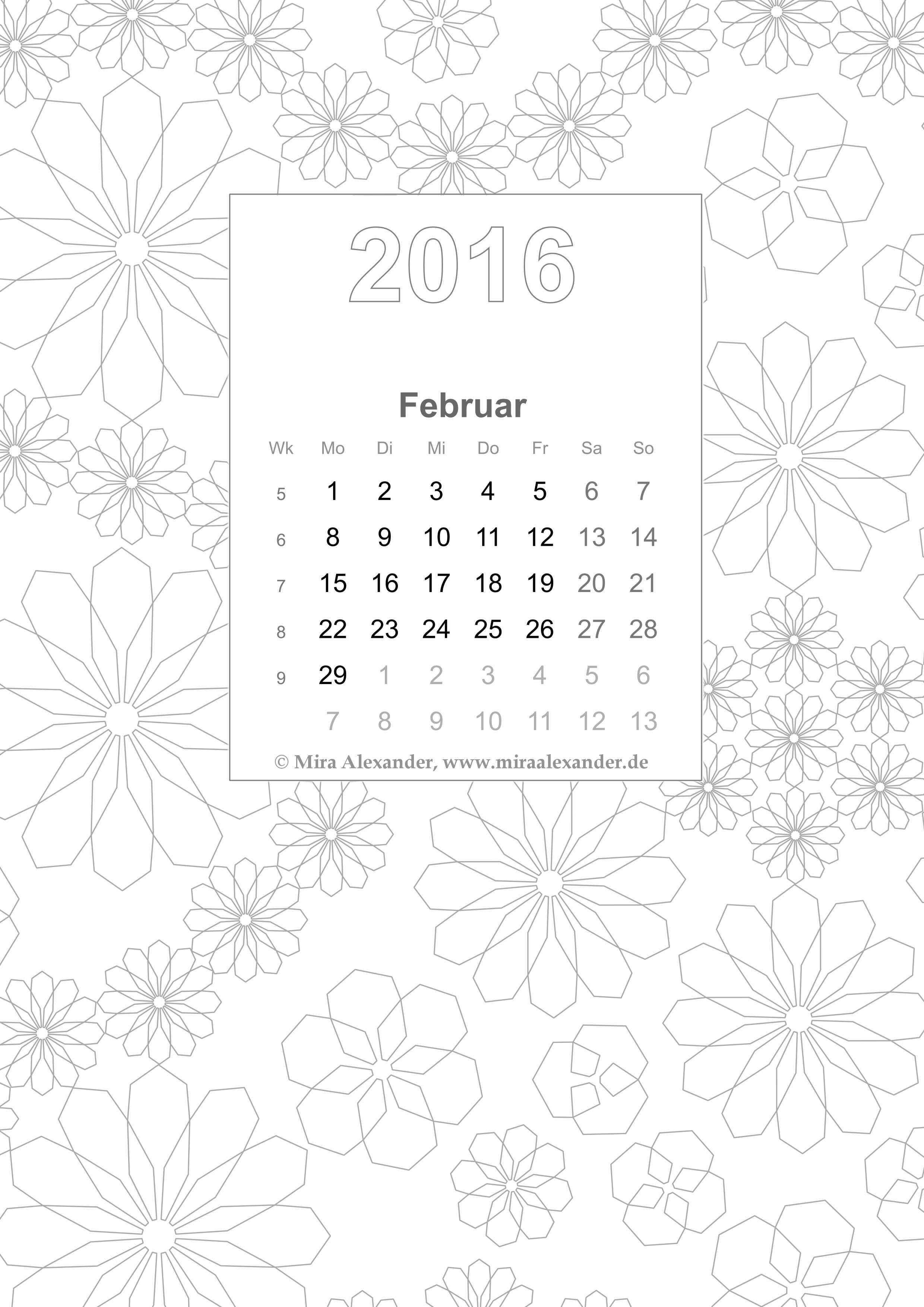 Coloring Book Calendar 2016/02 (private use only / nur für privaten Gebrauch); © Mira Alexander; right-click and safe for download / Rechtsklick und Speichern zum Herunterladen