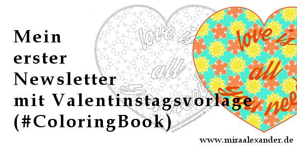 Coloring Book-Vorlage für den Valentingstag +++ #ColoringBook +++ http://www.miraalexander.de