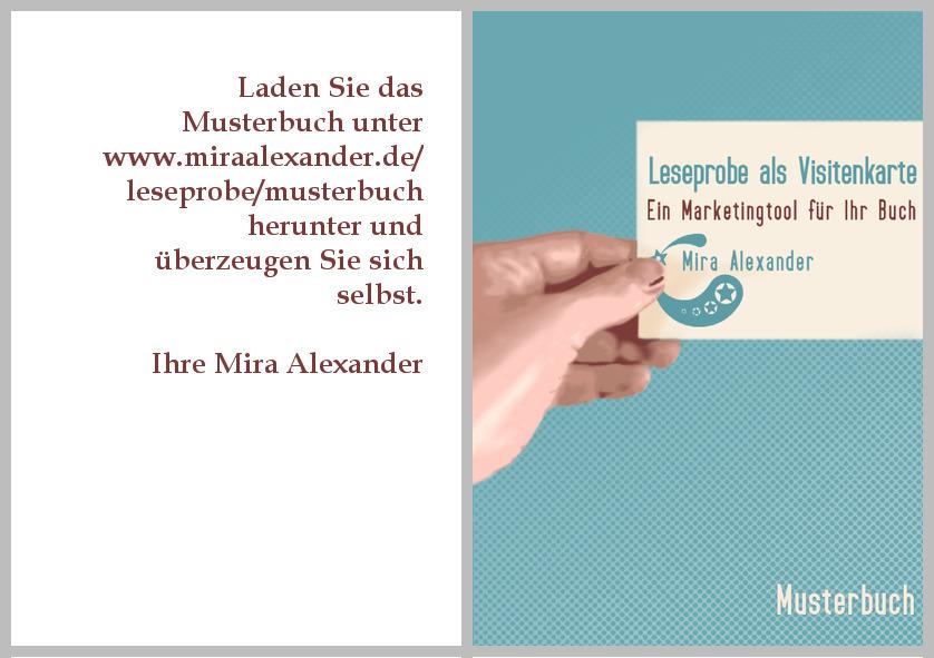 Wollen Sie sehen, wie eine Leseprobe aussehen könnte? Hier geht es zum Bild der fertigen PDF, von Mira Alexander, http://www.miraalexander.de