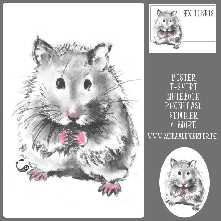 Hamster gibt es nun auch bei Redbubble zu kaufen. Von Mira Alexander.