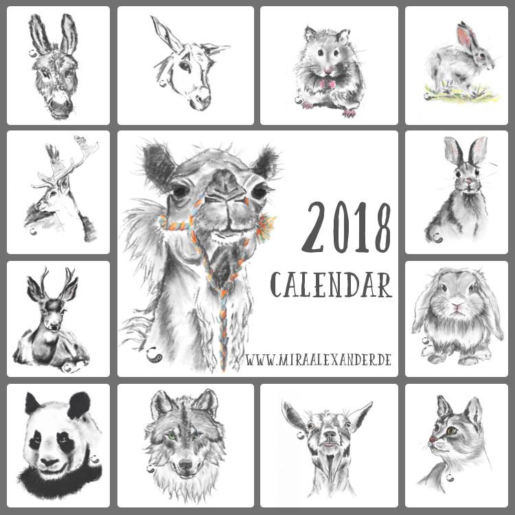 Die Tier-Kohlezeichnungen von Mira Alexander gibt es auch als Wandkalender 2018 bei @redbubble.
