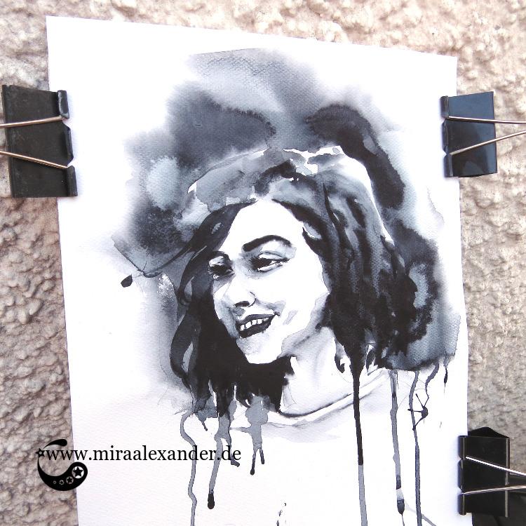 Ein Aquarellportrait einer lachenden Frau von Mira Alexander