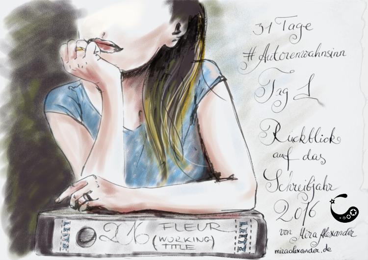 Tag 1 im Challenge #Autorenwahnsinn 2017 von Mira Alexander. Ein Rückblick auf mein Schreibjahr 2016. Digitale Kreidezeichnung einer Frau, die sich auf einem Ordner abstützt.