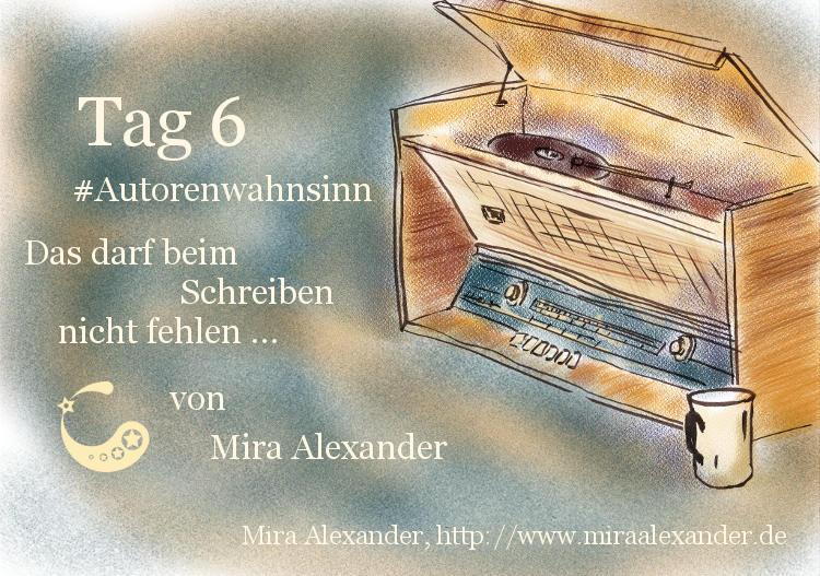 Das darf beim Schreiben nicht fehlen von Mira Alexander. Das Bild zeigt einen alten Plattenspieler. Colorierte Digitalzeichnung.