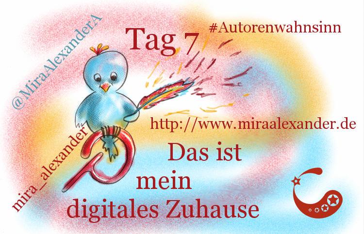 Tag 7 es #Autorenwahnsinn's - Hier bin ich online zuhause von Mira Alexander. Der blaue Vogel steht für Twitter, das stilisierte P für Pinterest und die Schreibfeder für meine Blog-Präsenz.