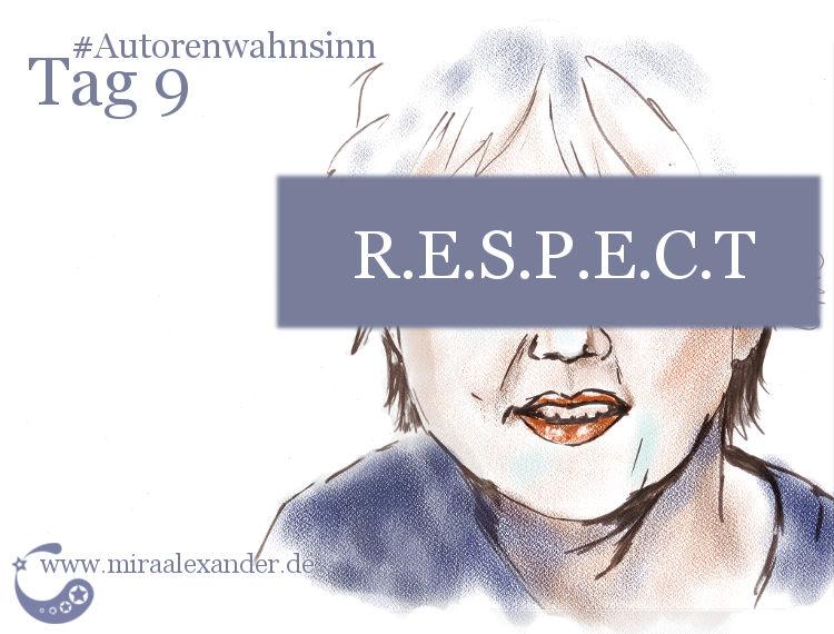 Tag 9 - Autoren, die ich bewundere von Mira Alexander. Digital colorierte Tuschezeichnung mit den Portraits einer Frau und eines Mannes und der Überschrift R.E.S.P.E.C.T.