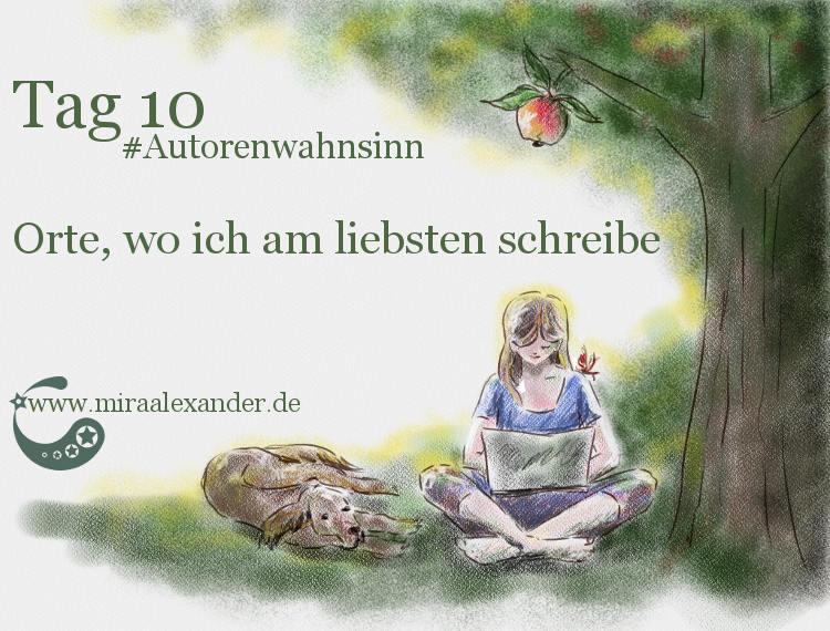 Tag 10 - Orte, an denen ich am liebsten schreibe von Mira Alexander. Digitale Zeichnung stellt eine Frau im Schneidersitz, mit einem Laptop auf dem Schoß, die im Garten sitzt. Neben ihr liegt ein Hund.