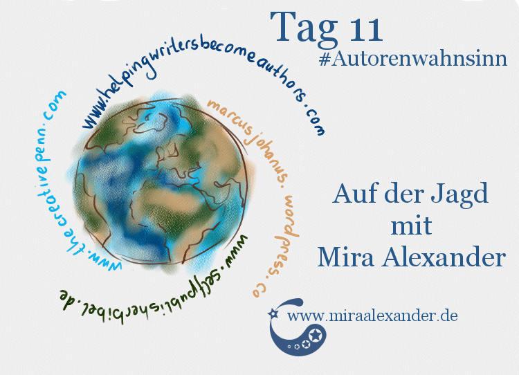 Tag 11 - Auf diesen Seiten und Schreibforen informiere ich mich von Mira Alexander, #Autorenwahnsinn 2017. Das Bild zeigt eine digitale Zeichnung der Erde mit vier als Schweif geformten Schriftzügen.