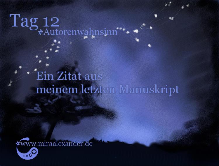 Tag 12 - Ein Zitat aus meinem letzten Manuskript von Mira Alexander #Autorenwahnsinn . Diese Digitalzeichnung zeigt den Nachthimmel.