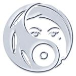 Beispiel für das Logo als silberfarbener Anhänger, Ring, Ohrring oder Manschettenknopf