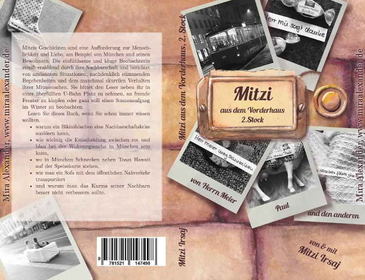 """Buchcover für die Druckausgabe von """"Mitzi aus dem Vorderhaus, 2. Stock"""" von Mitzi Irsaj,  Design: Mira Alexander, http://www.miraalexander.de"""