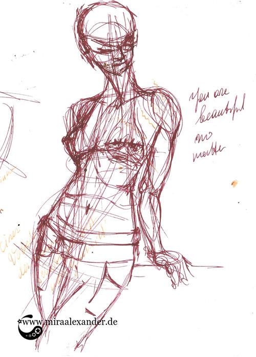 """Skizzen zum Freitagssong """"Beautiful"""" von Chrstina Aguilera. Der allererste Entwurf mit einem Füller und Rustic Brown von Diamine"""