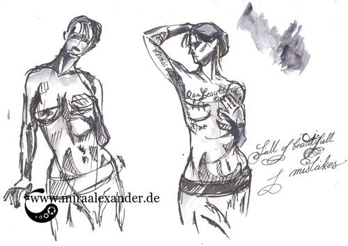"""Skizzen zum Freitagssong """"Beautiful"""" von Chrstina Aguilera. Pose-Proben mit Fude-Stift und Sumi-e."""