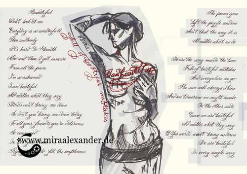 """Skizzen zum Freitagssong """"Beautiful"""" von Chrstina Aguilera. Kompositionsentwurf mit erster Pose."""