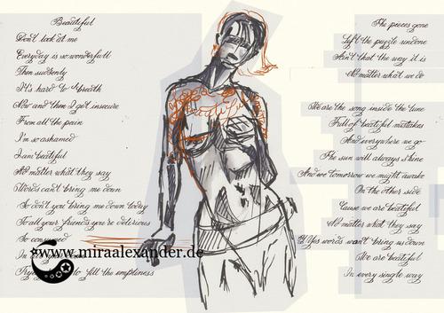 """Skizzen zum Freitagssong """"Beautiful"""" von Chrstina Aguilera. Kompositionsentwurf mit zweiter Pose, hell"""