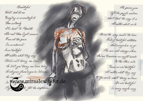 """Skizzen zum Freitagssong """"Beautiful"""" von Chrstina Aguilera. Kompositionsentwurf mit zweiter Pose, dunkel"""