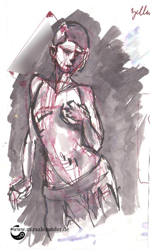 """Skizzen zum Freitagssong """"Beautiful"""" von Chrstina Aguilera. Value-Studie mit aufgelöster Tinte."""