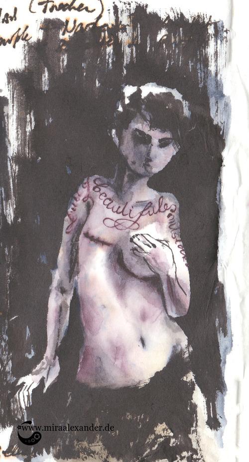 """Skizzen zum Freitagssong """"Beautiful"""" von Chrstina Aguilera. Sumi-e und Shadow Black von Boku Undo auf Wanzhou mit Tattoo."""