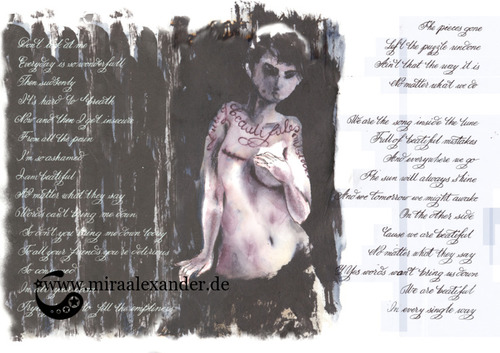 """Skizzen zum Freitagssong """"Beautiful"""" von Chrstina Aguilera. Horizontale Kalligrafiestudie."""