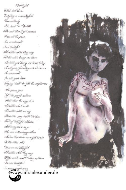 """Skizzen zum Freitagssong """"Beautiful"""" von Chrstina Aguilera. Vertikale Kalligrafiestudie."""