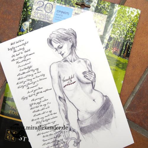 "Skizzen zum Freitagssong ""Beautiful"" von Chrstina Aguilera. Fertiges Kalligrafiebild, gedruckt auf dem Aquarellpapier."