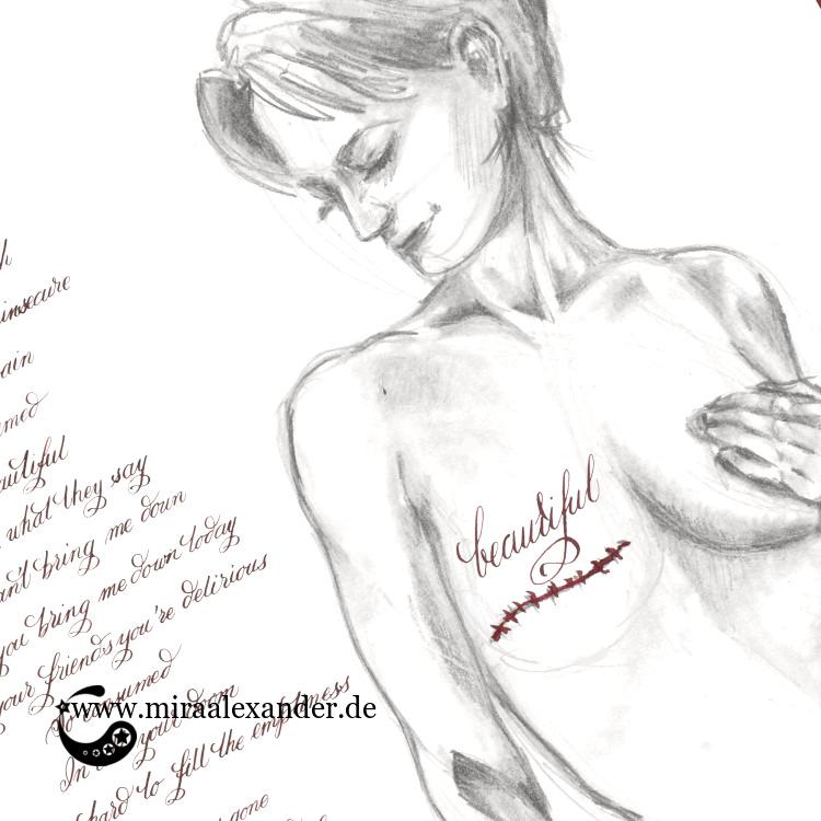 Freitags-Song-Kalligrafie mit einer Illustration von Mira Alexander zu dem Lied Beautiful von Christina Aguilera.