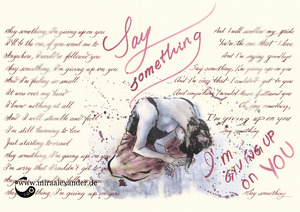 Freitags-Song-Kalligrafie mit einer Illustration von Mira Alexander zu dem Lied Say Something von A Great Big World.
