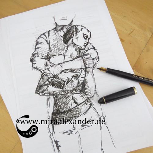 Erste Skizze zur Kallillustration zu T'es beau von Pauline Croze