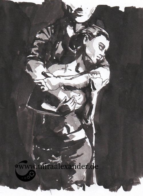 Entwurf eines Hintergrunds zur Kallillustration, schwarz-grau-weiß mit verschwundenen Rändern, Sumi-e