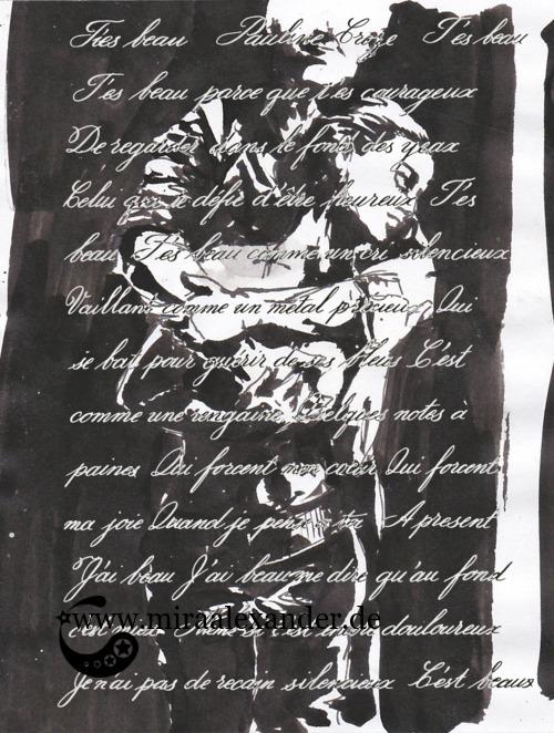 Kompositionsversuch zu T'es beau von Pauline Croze, Kontrasttext auf schwarz-weiß, digital nachbearbeitet (weißer Text auf dunklen Bildpartien, schwarzer Text auf hellen)