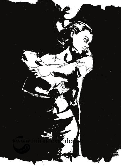 Entwurf eines Hintergrunds zur Kallillustration, schwarz-weiß mit verschwundenen Rändern, digital nachbearbeitet