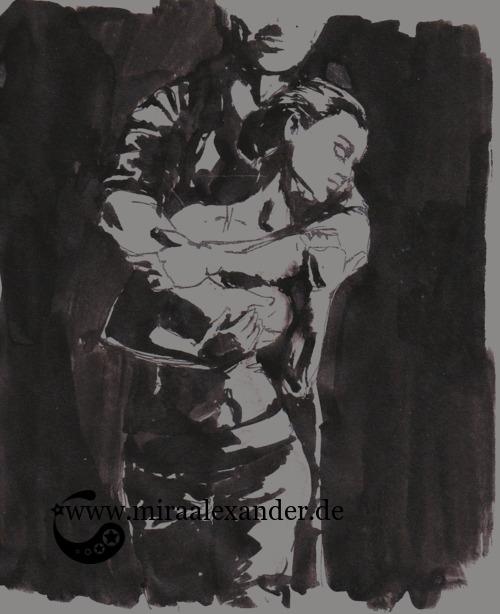 Entwurf eines Hintergrunds zur Kallillustration, schwarz-grau, digital nachbearbeitet