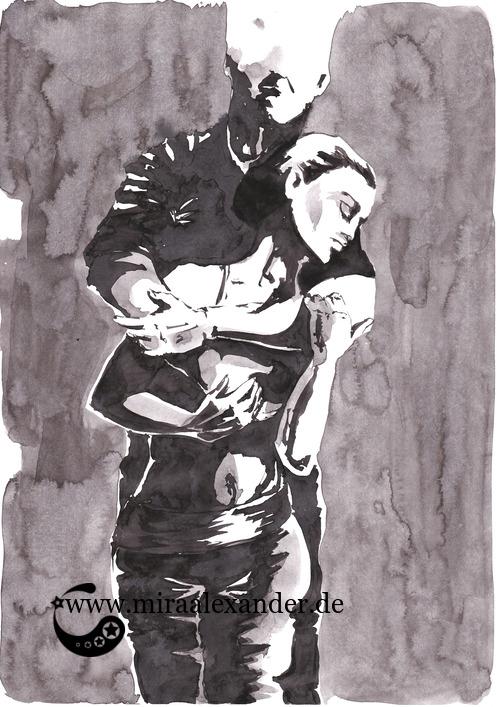 Entwurf eines Hintergrunds zur Kallillustration, schwarz-grau-weiß, auf grauem Hintergrund, Sumi-e
