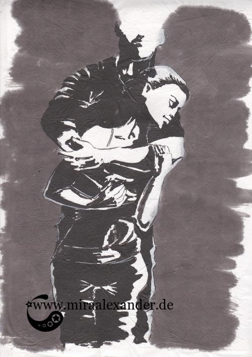 Entwurf eines Hintergrunds zur Kallillustration, schwarz-weiß auf grauem Hintergrund, Sumi-e auf Wanzhou-Papier, mit PVA-Kleber aufgezogen