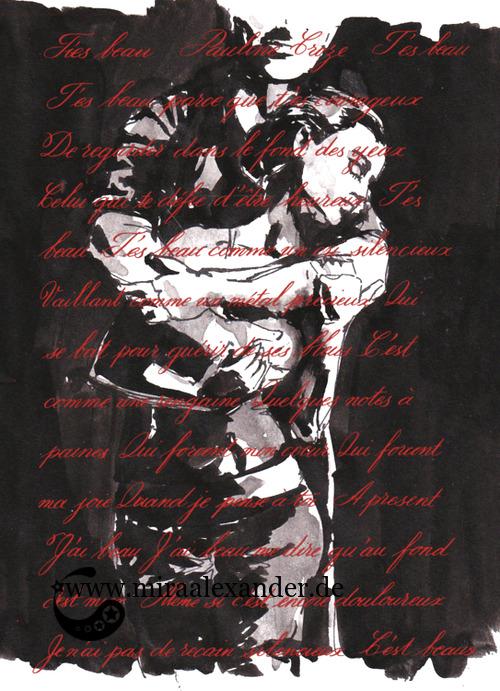 Kompositionsversuch zu T'es beau von Pauline Croze, roter Text (Gouache) auf schwarz-grau-weißem Hintergrund, digital nachbearbeitet