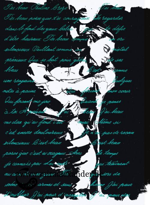 Kompositionsversuch zu T'es beau von Pauline Croze, türkisfarbener Text (Tinte, Steel Blue von Diamine) auf schwarz-weißem Hintergrund, digital nachbearbeitet