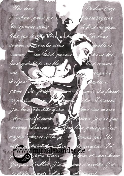 Kompositionsversuch zu T'es beau von Pauline Croze, weißer Text auf dunklen Partien des schwarz-grau-weißen Hintergrunds, digital nachbearbeitet