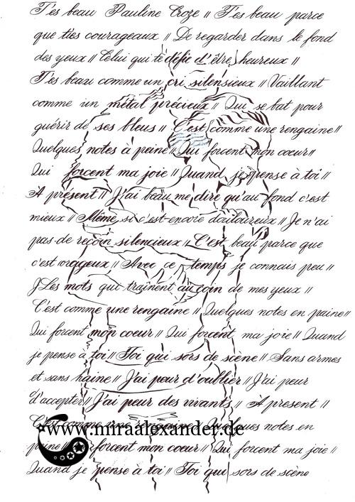 Kompositionsversuch zu T'es beau von Pauline Croze. Umrisse in Tinte; dunkle Partien der Figuren durch stärkeren Strich der Kalligrafie hervorgehoben.