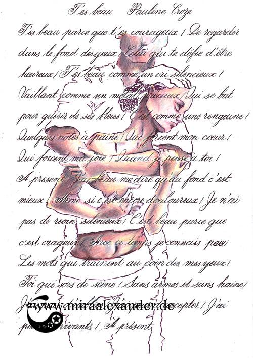 Kompositionsversuch zu T'es beau von Pauline Croze. Umrisse in Tinte, Figuren in Buntstiften von Luminance.