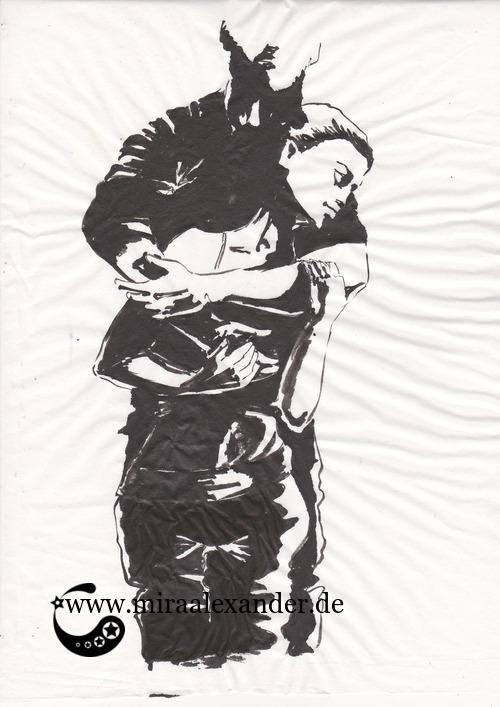 Entwurf eines Hintergrunds zur Kallillustration, schwarz-weiß, Sumi-e auf Wanzhou-Papier, nicht aufgezogen