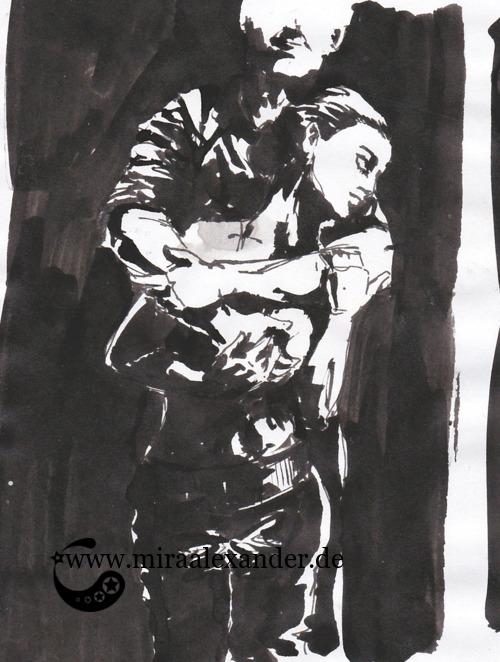 Entwurf eines Hintergrunds zur Kallillustration, schwarz-weiß, Sumi-e