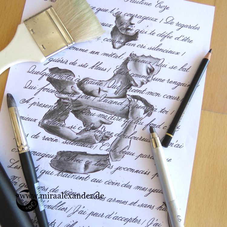 Freitags-Song-Kalligrafie mit einer Illustration von Mira Alexander zu dem Lied T'es beau von Pauline Croze.