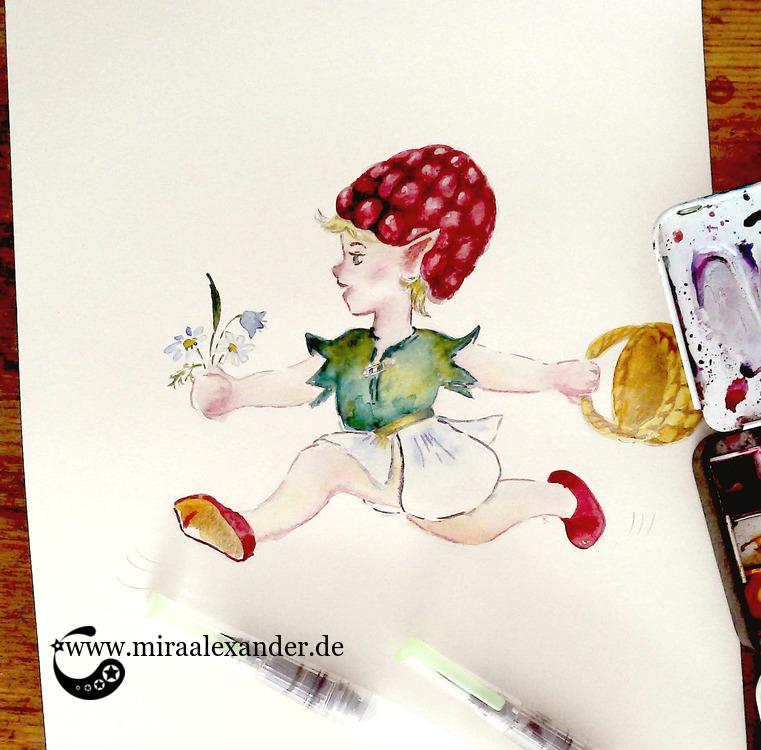 Das Himbeermädle, eine Aquarell-Illustration von Mira Alexander.