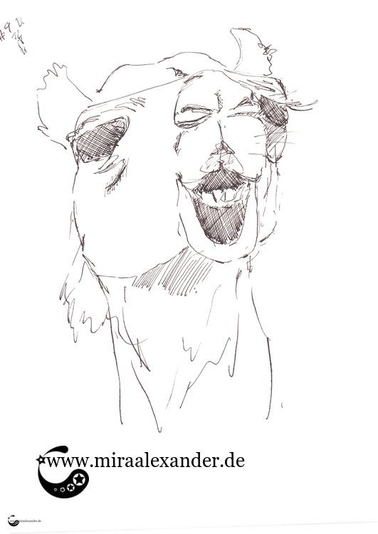 Der Dromedar, eine Animation von Mira Alexander, die einen kauenden Dromedar zeigt