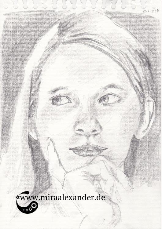 Die Gedanken sind frei, eine Graphitzeichnung eines weiblichen Kopfes von Mira Alexander.
