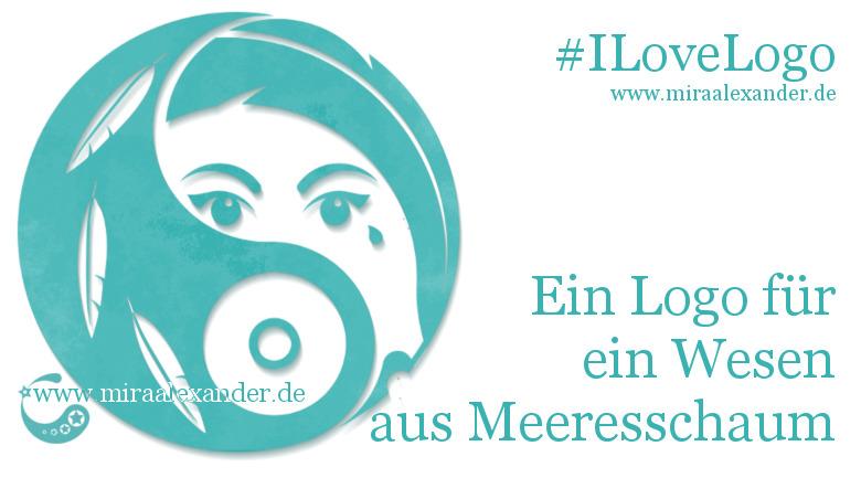 Eines meiner Steckenpferde ist das Entwerfen von Logos. Ein Logo, aus Meeresschaum geboren von Mira Alexander. Copyright am Design und Artikel Mira Alexander. Das Bild zeigt ein Logo mit einer schreibenden Sirene. #ILoveLogo