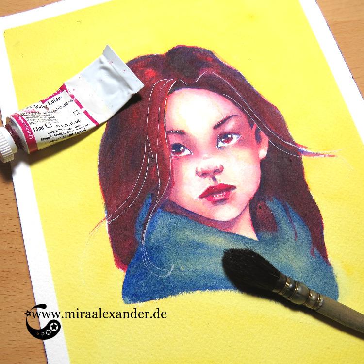 Aquarell-Portrait eines Frauenkopfes im Rahmen des #SSBD17-Challenges von Mira Alexander.