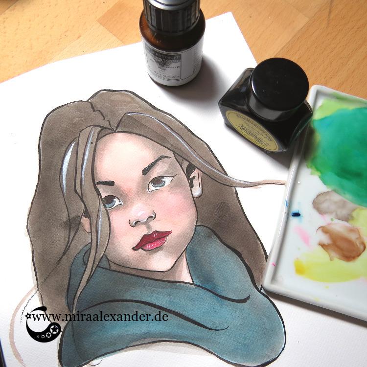 Aquarell-Portrait eines Frauenkopfes mit Grisaille-Untermalung im Rahmen des #SSBD17-Challenges von Mira Alexander.
