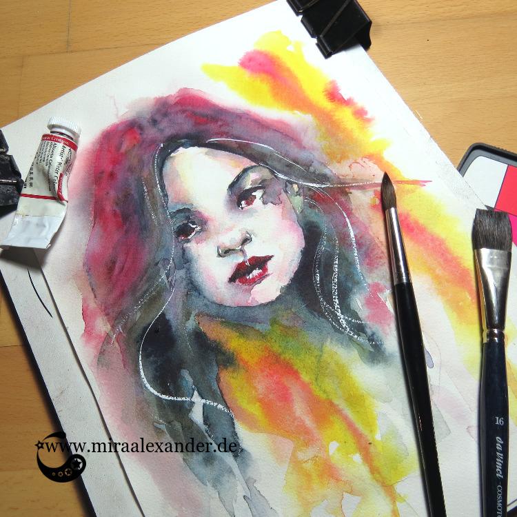 Ein Aquarellbild eines Frauenkopfes im Rahmen des #SSBD17-Challenges von Mira Alexander.