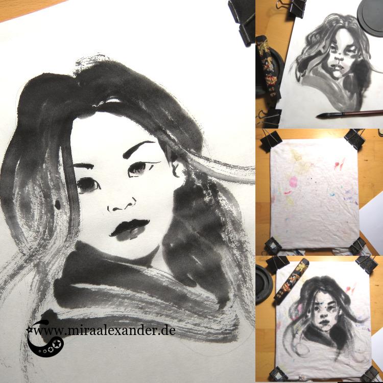 Drei Portraits mit chinesischer Tusch eines Frauenkopfes im Rahmen des #SSBD17-Challenges von Mira Alexander.